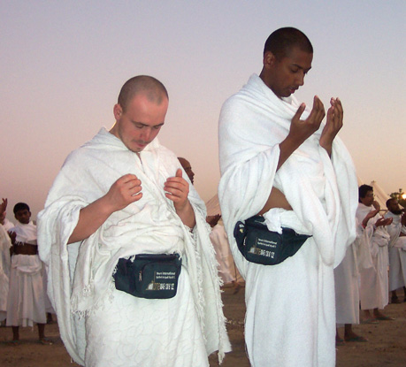 Two Muslim pilgrims during Hajj